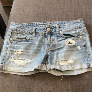 AE denim shorts.